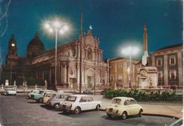 CATANIA - DUOMO E OBELISCO DELL'ELEFANTE - NOTTURNO - AUTO D'EPOCA CARS VOITURES: INNOCENTI PRIMULA - FIAT 500 FAM - 600 - Catania
