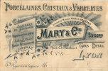 LYON MARY ET CIE PORCELAINE CRISTAUX VERRERIES CARTE COMMERCIALE - Lyon 2