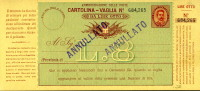 INTERO REGNO UMBERTO I CARTOLINA VAGLIA 8 L 1893 - 1878-00 Umberto I