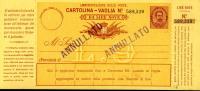 INTERO REGNO UMBERTO I CARTOLINA VAGLIA 9 L 1893 - 1878-00 Umberto I