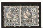 TIMBRES DE FRANCE DE 1902-20  Surchargés Piastres   N° 17   Oblitéré  Paire - Used Stamps