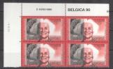 2360 - Internationale Vrouwendag - 1990 - Blok Van 4 Met Drukdatum - Dated Corners