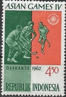 INDONESIA 1962 4th Asian Games, Djakarta  Green And Red - 4r.50 Hockey MH - Indonesien