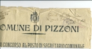 PIZZONI      LOCANDINA   X  POSTO  DI  SEGRETARIO  COMUNALE---  1926  UNICO  RARO  DOCUMENTO - Vibo Valentia