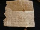 PARCHEMIN VELIN 1459 . FORMAT 29,3 X 32 Cm . Avec Fragment Cachet De Cire - Manuscritos