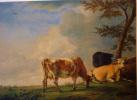 REPRODUCTION TABLEAU PAULUS POTTER TROIS VACHES AU PATURAGE HUILE SUR BOIS - MUSEE FABRE MONTPELLIER PHOTO JAULMES - Paintings