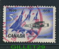 CANADA STAMP - FIRST FLIGHT IN CANADA 0 SILVER DART & JET PLANES - SCOTT No 383, 0,05ç, 1959 - USED - - 1952-.... Règne D'Elizabeth II