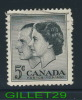 CANADA STAMP - ROYAL VISIT, QUEEN ELIZABETH & PRINCE PHILIP - SCOTT No 374, 0,05ç, 1957 , BLACK - USED - - 1952-.... Règne D'Elizabeth II