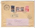 MONACO  /  Enveloppe Envoyée En Recommandé, Avec 3 Beaux Timbres + Cachet Du  4  JUILLET  1956