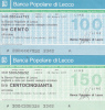 MINIASSEGNI - BANCA POPOLARE DI LECCO - [10] Assegni E Miniassegni