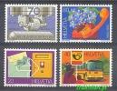 Switzerland 1980 Mi No. 1180-1183 Phone Postbox Cars Letters Flowers - Telecom
