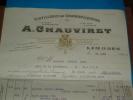 Factures ) DISTILERIE DE GRANDES LIQUEURS ( Maison  A. CHAUVIRET ) Limoges - Année 1928 - Alimentaire
