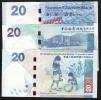 HONG-KONG P297 & P212 & P341  20 DOLLARS 2010   HSBC & SCB & BOC   3 Notes=3 Different Banks UNC - Hong Kong