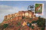 India 2012 Mehrangarh Fort Jodhpur Tiger Wild Life Architecture Special Card # 16201 - Castles
