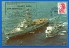 Marine Nationale - Cachet Porte Hélicoptères JEANNE D'ARC Sur CP (2117) Les Saintes Campagne 1986/87 - Postmark Collection (Covers)