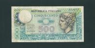 BANCONOTA  Da  500  Lire - Serie MERCURIO - D.M. 30. 12. 1976. Grado Di Rarità Comune. - 500 Lire