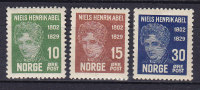 Norway 1929 Mi. 150-51, 153 Niels Henrik Abel, Mathematiker MH* - Ungebraucht