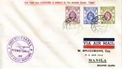 Hong Kong First Flight HK To MANILA  COVER - Hong Kong (...-1997)