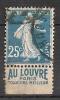 Timbre à Bande Publicitaire Type Semeuse 25c Bleu N° 140 Louvre - Advertising