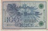 Germany #34 100 Mark 1908 Banknote Paper Money - [ 2] 1871-1918 : German Empire