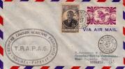 1947 - CALEDONIE - RARE ENVELOPPE Par AVION 1° VOL - TRAPAS - LIGNE NOUMEA PAPEETE (OCEANIE) - Luftpost