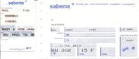 Boarding Pass - Sabena - SN301/SN302 - Brussels-Athens-Brussels - 19-21FEB95 - Instapkaart