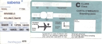 Boarding Pass - Sabena/Alitalia - SN809/AZ354 - Brussels-Milan LIN-Brussels - 12-14FEB95 - Instapkaart