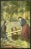 Carte Postale Couleur (jeu De Balance) Expédiée De Binche Vers Anderlues En 1908 - Cartes Postales