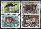 USSR 1969   4 V MNH  Cigogne Noire Sanglier Lynx Deer Cerf Black Stork Wild Boar - Ooievaars