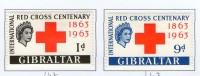 GIBRALTAR 1963 CROIX-ROUGE  YVERT  N°160/61 NEUF MLH* - Cruz Roja