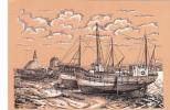 20552 Port De Pêche à Marée Basse CAMARET (29 France) Dessin-Henri Touleron -K325 -bateau  CM 3066