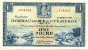 UNITED KINGDOM SCOTLAND 1 POUND BLUE CLYDESDALE ETC BANK SHIP FRONT LANDSCAPE BACK DATED 01-3-1954 P?READ DESCRIPTION !! - 1 Pound