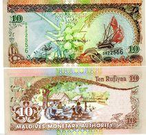 MALDIVES 10 RUFIYAA 1998 P19 UNCIRCULATED - Maldiven