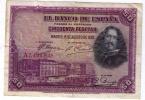 BILLETE DE 50 PESETAS DE 1928  SERIE A - VELAZQUEZ - USADO BONITO - [ 1] …-1931 : First Banknotes (Banco De España)