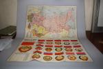 Drapeaux Et Armes De L´U.R.S.S. Et Des 15 Républiques Soviétiques Fédérées - Carte Format 40 X 55,5 Cm - 1961 - Cartes Géographiques