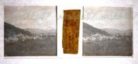 $3A1- WWI Lucinico Podgora Rovine Sullo Sfondo Gorizia 1919 - Vera Diapositiva Stereo In Vetro - Diapositiva Su Vetro