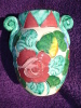Vase Monaco Non Marque Avec 2 Anses, Decor Floral En Relief, Rose (12-656) - Céramiques