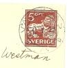 Sweden Enveloppe 1919 Michel Nr U 21 I A (Wz 1 Y) Vasteras 1-1-1923 To Vasteras - Postwaardestukken