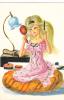 18642 Dessin Femme Année 1970 . Coiffeuse. Coupe D´or Du Bon Gout Glacée 50971 - Non Signée