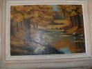 ART,peinture Sur Panneau Bois Originale 1947,peinture,BAIARD,paysage Isere,ruisseau,montagne,c Ampagne,tableau - Huiles