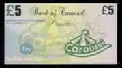 "Test Note ""CAROUSEL"" Billet Scolaire, 5 Pds., Training, Orig. Size, RRR, UNC , Token, Play Money - Ver. Königreich"