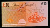"Test Note ""CAROUSEL"" Billet Scolaire, 10 Pds., Training, Orig. Size, RRR, UNC , Token, Play Money - Regno Unito"
