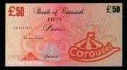 "Test Note ""CAROUSEL"" Billet Scolaire, 50 Pds., Training, Orig. Size, RRR, UNC , Token, Play Money - Ver. Königreich"
