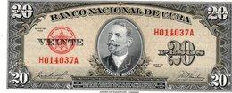 CUBA NOTE 20 PESOS 1958 P 80b XF - Cuba