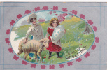 Easter Greetings, Boy Walking Alongside A Lamb, Girl Holding Exagerated Decorated Egg, PU-1909 - Pâques