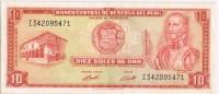 Billete 10 Soles PERU 1973. Garcilaso Inca De La Vega - Perú