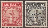 AUSTRALIA - 1935  Anzac. Scott 150-1. Mint Hinged * - Mint Stamps