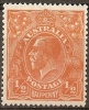 AUSTRALIA - 1923  ½d King George V - Single Watermark (wmk 9). Scott 20. Mint Hinged * - Mint Stamps