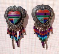 Native American Hand-made Silver Heart Mosaic Earrings - Etnica