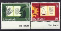 Bahamas, Year 1974, Mi 364-365 With Sheet Margin, 25th Anniversary University, MNH ** - Bahama's (1973-...)